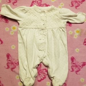 Little Me Other - White lacy feetie pjs #bb54